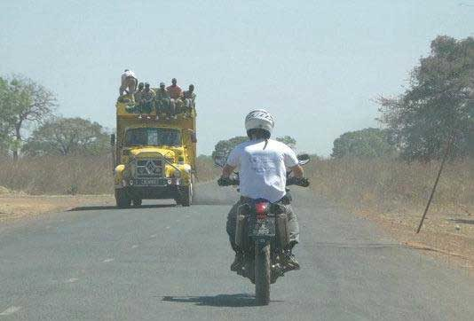 Truck driving on highway in the Gambia